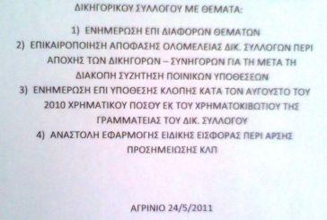 Δικηγορικός Σύλλογος Αγρινίου: Ενημέρωση για την κλοπή των 10.000 ευρώ