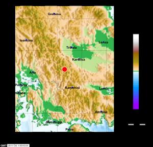 Αισθητή στο Αγρίνιο σεισμική δόνηση με επικεντρο κοντά στην Καρδίτσα