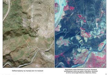 Δορυφορικές εικόνες αποτυπώνουν τις καμένες εκτάσεις