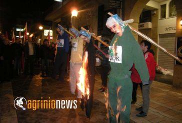 Κάψιμο ομοιωμάτων των αρχηγών της κυβέρνησης από το ΠΑΜΕ (φωτο)
