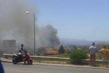 Φωτιά σε κατοικημένη περιοχή στο Αγρίνιο (φωτο)