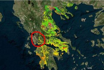Οι  μεταβολές εδάφους σε Τριχωνίδα-Μεσολόγγι-Ναύπακτο σύμφωνα με δορυφόρο.