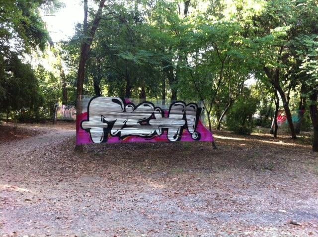 Graffiti ανάμεσα στα δέντρα στο πάρκο