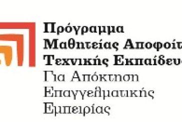 Πρόγραμμα Μαθητείας αποφοίτων Τεχνικής Εκπαίδευσης για απόκτηση επαγγελματικής εμπειρίας