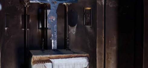 Σχεδόν ολοκληρωτική καταστροφή από φωτιά στο εκκλησάκι στο βυζαντνό Μοναστήρι...