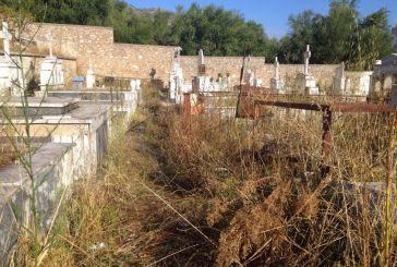 Εικόνα εγκατάλειψης στο νεκροταφείο στο Καραϊσκάκη Ξηρομέρου