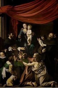 Madona of Rosary: 1605-07/ painter: Canavaggio. -Ο υπαινιγμός του πίνακα στην οικογένεια του Ναυάρχου Marcantonio Colonna, πρωταγωνιστή στη Ναυμαχία της Ναυπάκτου ( Ο κίων αριστερά)