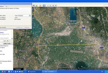 Ποια είναι κατά το Google Earth η πιο σύντομη απόσταση Ιόνιας Οδού-Αγρινίου