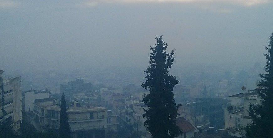 Στο φουλ η αιθαλομίχλη σήμερα στο Αγρίνιο