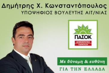 Στο Γραφείο του στο Μεσολόγγι σήμερα ο Δημήτρης Κωνσταντόπουλος