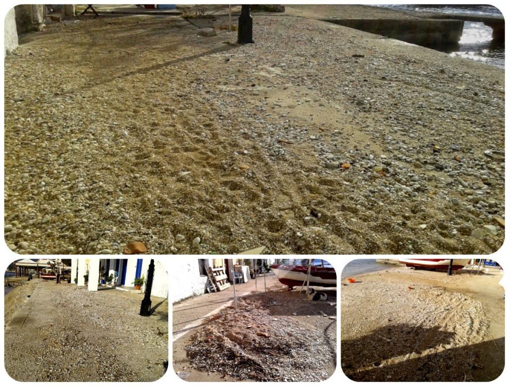 Όλη η άμμος της θάλασσας βγήκε έξω σε κομμάτι του πάνω Μύτικα.
