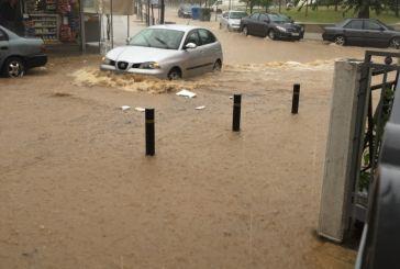 Απροσπέλαστοι οι δρόμοι του Αγρινίου λόγω της νεροποντής (φωτο)