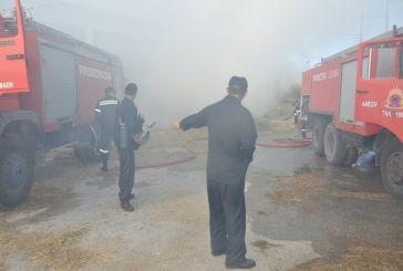 Πυρκαγιά κατέστρεψε ολοσχερώς αποθήκη στα Σιταράλωνα