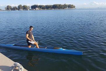 Προπόνηση στη λιμνοθάλασσα Μεσολογγίου για τον παγκόσμιο πρωταθλητή canoe Σ. Δημόπουλο