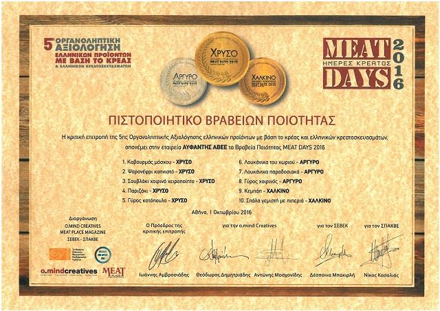 Σάρωσε τα βραβεία ο Όμιλος Αϋφαντή στην έκθεση Meat Days