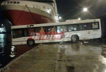 Λιμάνι Πάτρας: Λεωφορείο βρέθηκε με την μπροστινή του όψη στη θάλασσα (φωτο)
