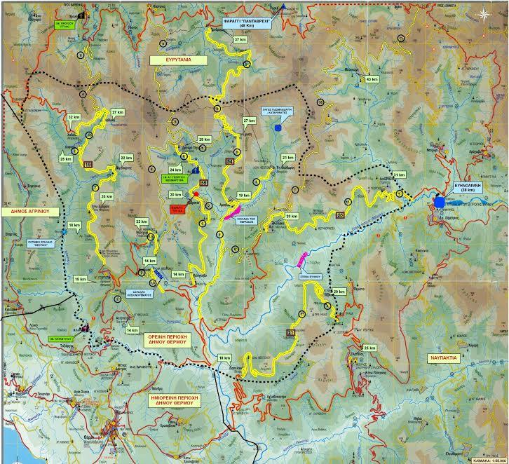 Χάρτης οδοποιίας ορεινού Θέρμου