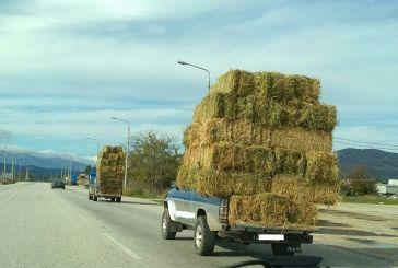 Γιορτινή (κι επικίνδυνη) μεταφορά σανού κάπου έξω από τη Λεπενού!