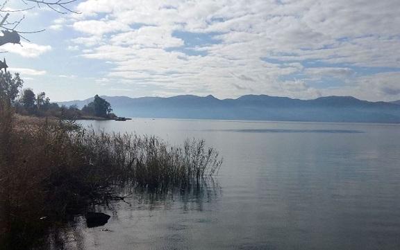 Η λίμνη Τριχωνίδα υπό τη χειμερινή αχλύ