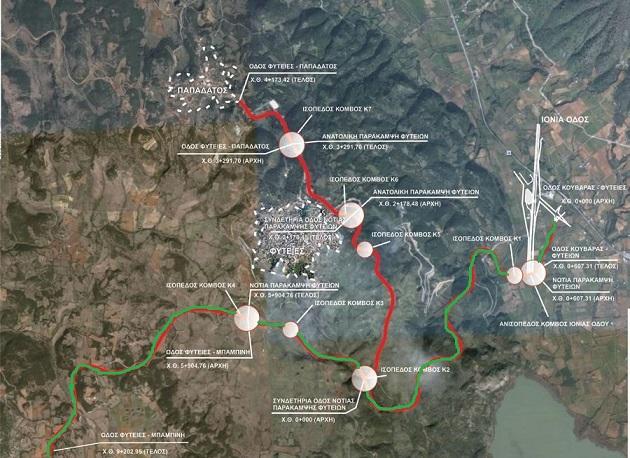 Με πράσινο-κόκκινο χρώμα τα 9,2 χιλιόμετρα που σήμερα κατασκευάζονται.