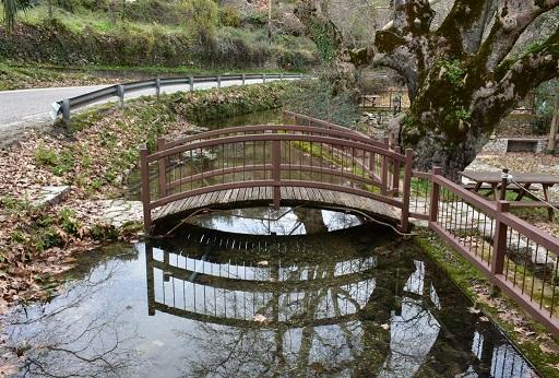 Το σύγχρονο γεφυράκι του μυλαύλακου της Αγίας Σοφίας δίπλα στον Χώρο Δασικής Αναψυχής στις Πηγές της Αγίας Σοφίας Θέρμου.