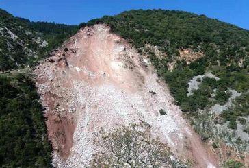 Μεγάλη κατολίσθηση στην Κοσκινά Θέρμου (φωτο)