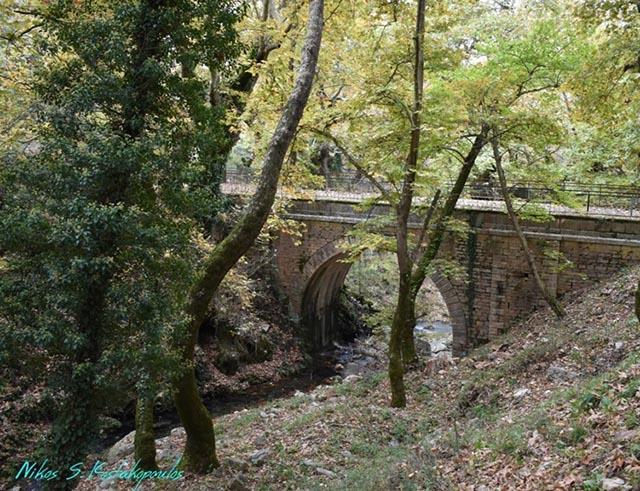 Το πέτρινο γεφύρι των Πηγών Μυρτιάς σε φθινοπωρινό φόντο