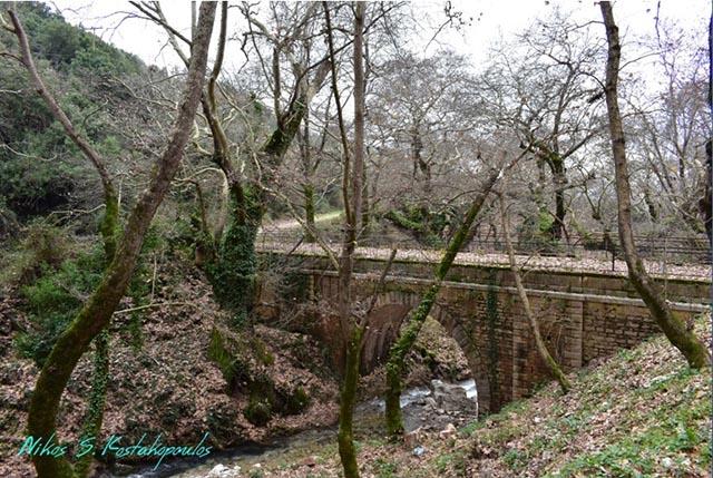 Το πέτρινο γεφύρι των Πηγών Μυρτιάς σε χειμωνιάτικο φόντο