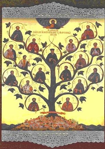 Η εικόνα των Αγίων Αιτωλοακαρνανίας, στο κέντρο ο Προστάτης Άγιός μας, Κοσμάς ο Αιτωλός
