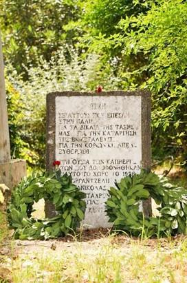 Αναμνηστική πλάκα στο σημείο δολοφονίας Β.Γ. και Θ.Κ.
