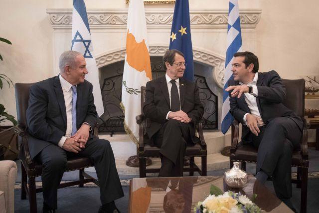 (Ξένη Δημοσίευση) Ο Πρόεδρος της Κυπριακής Δημοκρατίας Νίκος Αναστασιάδης (Κ), ο πρωθυπουργός του Ισραήλ Βενιαμίν Νετανιάχου (Α) και ο πρωθυπουργός Αλέξης Τσίπρας (Δ), συνομιλούν κατά την διάρκεια της τριμερής συνάντησης Ελλάδας- Κύπρου- Ισραήλ, στη Λευκωσία, Τρίτη 8 Μαΐου 2018. ΑΠΕ-ΜΠΕ/ΓΡΑΦΕΙΟ ΤΥΠΟΥ ΠΡΩΘΥΠΟΥΡΓΟΥ/Andrea Bonetti