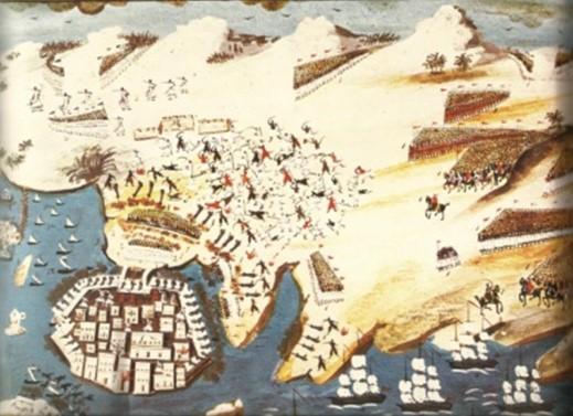 (εικ.3) Χάρτης του Μακρυγιάννη κατά την πολιορκία του Μεσολογγίου