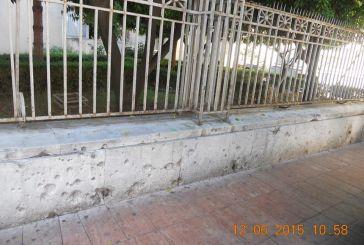 Τα ίχνη από βομβαρδισμό κατά τον ελληνοϊταλικό πόλεμο στο κέντρο του Αγρινίου