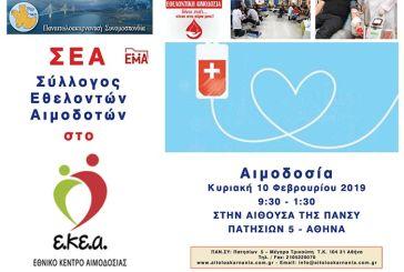 Την Κυριακή η εθελοντική αιμοδοσία στην Αθήνα από την Παναιτωλοακαρνανική Συνομοσπονδία