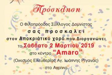 Αποκριάτικος χορός του Φιλοπρόοδου Συλλόγου Δομνίστας το Σάββατο στο Αγρίνιο