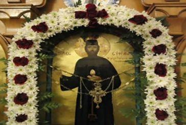 Απότμημα του Ιερού Λειψάνου του Αγίου Εφραίμ στον Ι.Ν. Αγίας Παρασκευής Αμφιλοχίας