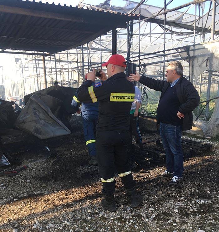 Καταστροφική πυρκαγιά σε μονάδα θερμοκηπιών στον Δρυμό- καταγγέλλεται εμπρησμός