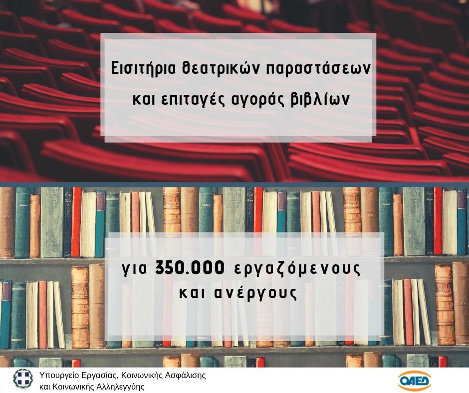 Δωρεάν χορήγηση βιβλίων και εισιτηρίων θεατρικών παραστάσεων από τον ΟΑΕΔ
