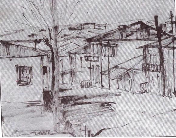 Η τότε οδός Καρπενησίου το 1954: Σχέδιο του γλύπτη Θεόδωρου