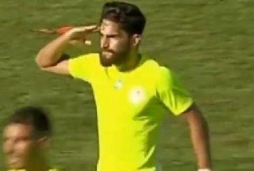 Παίκτης του Ολυμπιακού Βόλου σκόραρε και χαιρέτισε στρατιωτικά