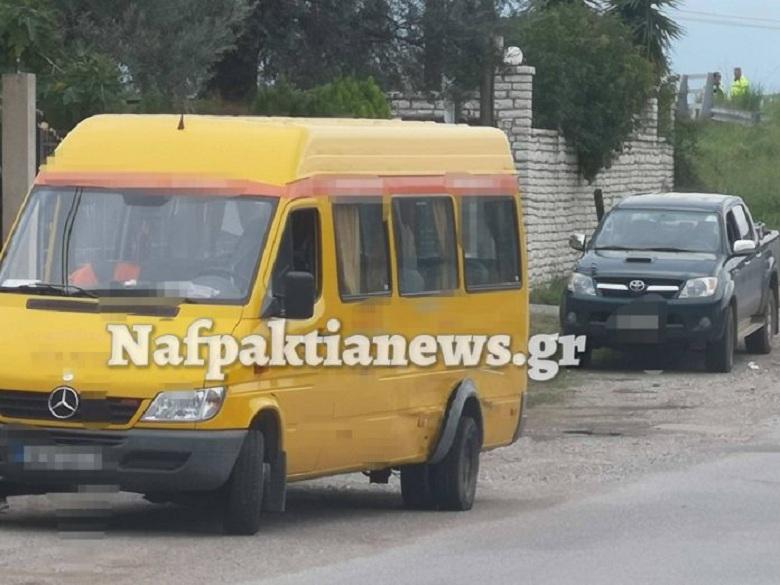 Ναύπακτος: Τροχαίο ατύχημα με σχολικό λεωφορείο που δεν μετέφερε μαθητές