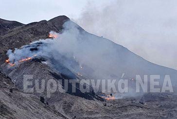 Φωτιά στην Καλιακούδα, ορατή από το Καρπενήσι