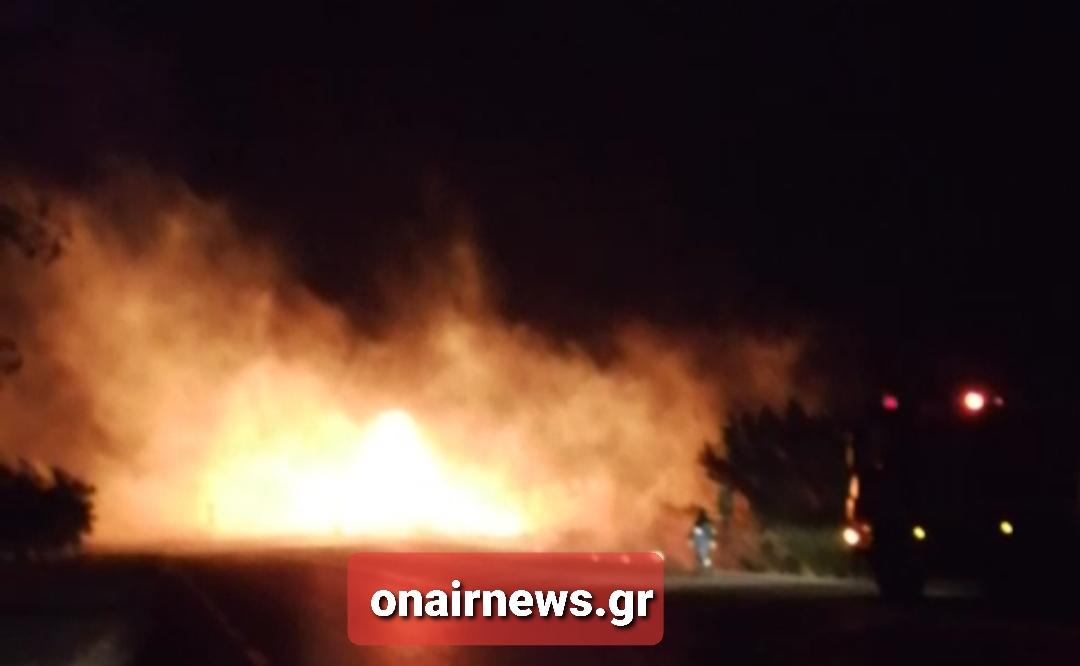 Ολιγόλεπτη διακοπή κυκλοφορίας στο δρόμο Mεσολόγγι- Αιτωλικό λόγω φωτιάς