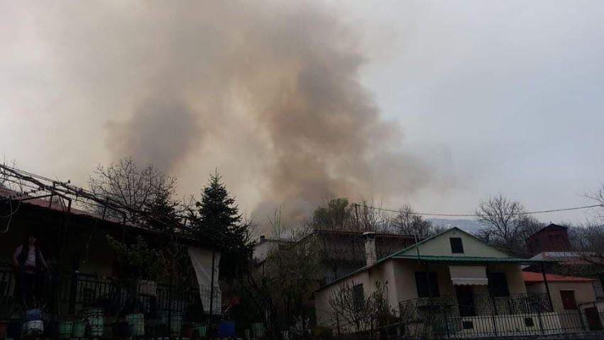 Μεγάλη φωτιά κοντά στο Τροβάτο Ευρυτανίας (βίντεο)