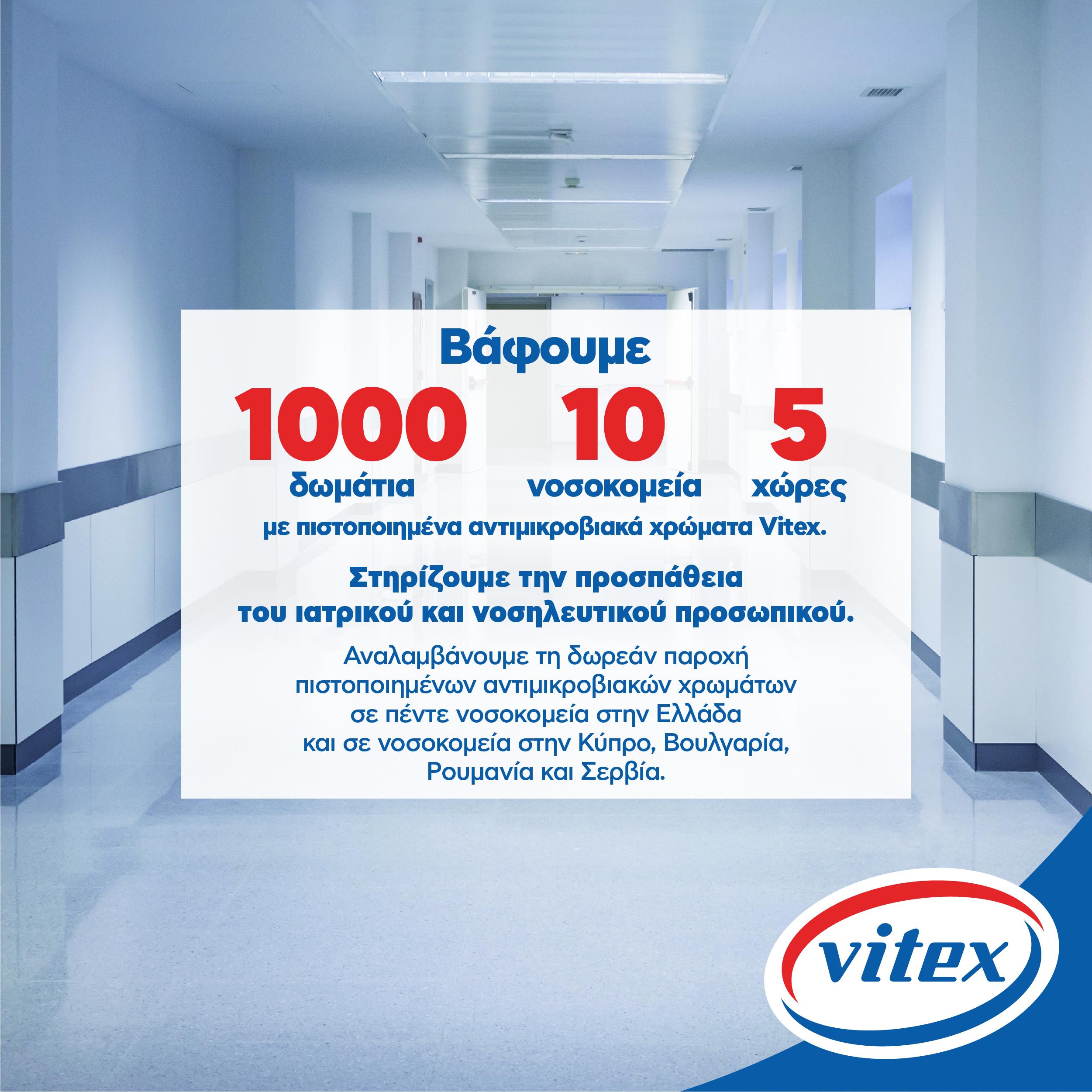 Η Vitex βάφει 10 νοσοκομεία με 1.000 δωμάτια σε 5 χώρες με πιστοποιημένα αντιμικροβιακά χρώματα