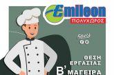 Ζητείται Β' Μάγειρας στον Πολυχώρο EMILEON