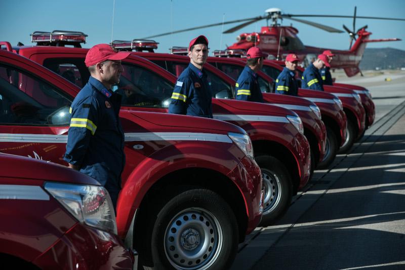 Ο Μητσοτάκης στην παραλαβή 20 πυροσβεστικών οχημάτων από την «Παπαστράτος»