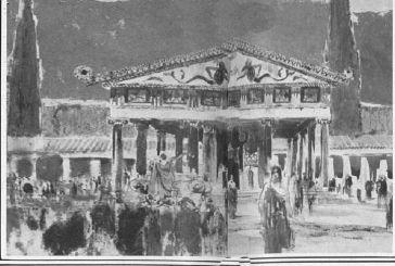 Φανταστική αναπαράσταση του Ναού του Απόλλωνα στο αρχαίο Θέρμο