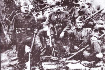 Ο αρχικαπετάνιος του ΕΔΕΣ Βάλτου Στυλιανός Χούτας μαζί με άλλους Αιτωλοακαρνάνες αξιωματικούς  το  1943