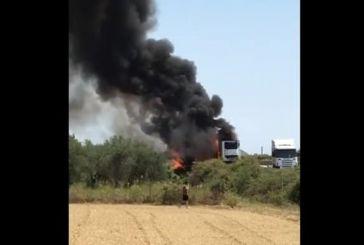 Φωτιά σε νταλίκα στο ύψος του Κεφαλόβρυσου (βίντεο)